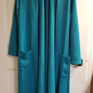 Lularoe Sarah Long Cardigan. L. Teal.